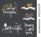 big set of handdrawn new year... | Shutterstock .eps vector #342110159