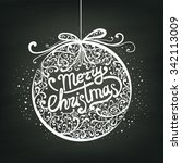 merry christmas lettering with... | Shutterstock .eps vector #342113009