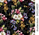 seamless pattern of bouquet of... | Shutterstock .eps vector #342114029