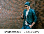 portrait of stylish handsome... | Shutterstock . vector #342119399