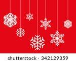 winter pattern of hanging... | Shutterstock .eps vector #342129359