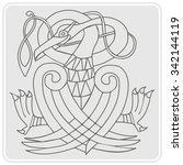 monochrome icon with celtic art ... | Shutterstock .eps vector #342144119