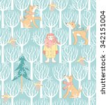 cute seamless pattern with baby ... | Shutterstock .eps vector #342151004