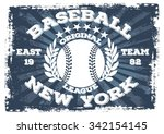 new york baseball vector print... | Shutterstock .eps vector #342154145