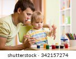 kid boy and daddy painting... | Shutterstock . vector #342157274