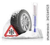 a snowbound studded winter tire ... | Shutterstock . vector #342164525