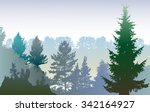 panoramic winter forest... | Shutterstock .eps vector #342164927