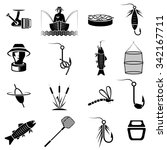 vector set of icons on fishing... | Shutterstock .eps vector #342167711