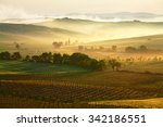 tuscany lanscape in misty... | Shutterstock . vector #342186551