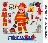 firefighter with and first help ... | Shutterstock .eps vector #342187505