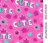 cute pink girlish pattern ... | Shutterstock . vector #342191405