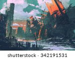 disaster city apocalyptic... | Shutterstock . vector #342191531