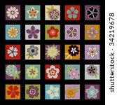 twenty five asian flowers and... | Shutterstock .eps vector #34219678