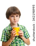 a seven years boy is drinking... | Shutterstock . vector #342198995