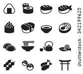 basic japanese food icons set | Shutterstock .eps vector #342199625