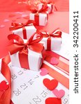 gifts with red ribbons | Shutterstock . vector #342200411