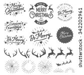 set of vintage christmas and... | Shutterstock .eps vector #342202961