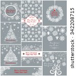 pastel xmas greeting cards with ... | Shutterstock .eps vector #342208715