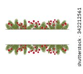 fir twigs decoration with copy... | Shutterstock .eps vector #342212561