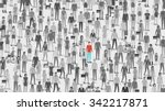 one individual standing out of... | Shutterstock .eps vector #342217871