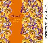 orange peacock feathers ... | Shutterstock .eps vector #342238274