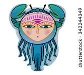 cancer   decorative zodiac sign | Shutterstock .eps vector #342244349