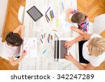 a mother with her kids with at... | Shutterstock . vector #342247289