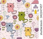 babies hand drawn seamless... | Shutterstock .eps vector #342247457