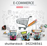 e commerce concept with doodle... | Shutterstock .eps vector #342248561