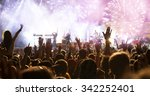 fireworks and crowd celebrating ... | Shutterstock . vector #342252401