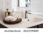 clean contemporary bathroom sink | Shutterstock . vector #342259889