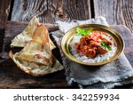 indian tikka masala with rice... | Shutterstock . vector #342259934
