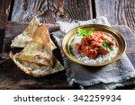 indian tikka masala with rice...   Shutterstock . vector #342259934