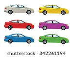 cars side view. vector flat... | Shutterstock .eps vector #342261194