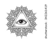vector all seeing eye pyramid... | Shutterstock .eps vector #342261419