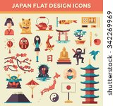 set of vector flat design japan ...