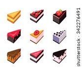 cake set isometric flat design... | Shutterstock .eps vector #342276491