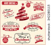 vintage card with merry... | Shutterstock .eps vector #342280115