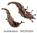 chocolate splashes set ... | Shutterstock . vector #342293264