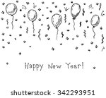happy new year doodle greeting... | Shutterstock .eps vector #342293951