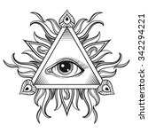 vector all seeing eye pyramid... | Shutterstock .eps vector #342294221