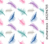 colorful feathers on white... | Shutterstock .eps vector #342296705