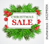 christmas sale card design with ... | Shutterstock .eps vector #342299054