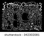 hand drawn christmas characters ... | Shutterstock .eps vector #342302081