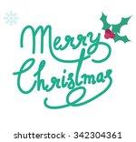 merry christmas text vector... | Shutterstock .eps vector #342304361