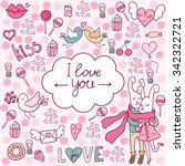 valentine's day doodles.... | Shutterstock .eps vector #342322721