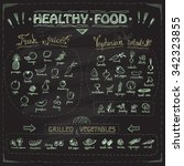 healthy food chalkboard menu... | Shutterstock .eps vector #342323855
