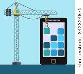 mobile app design with crane... | Shutterstock .eps vector #342324875