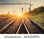 cargo train platform at sunset. ... | Shutterstock . vector #342334991