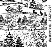 watercolor winter coniferous... | Shutterstock . vector #342341039